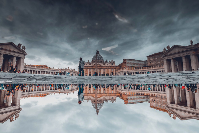 Water reflection at St Peter's Basilica, Vatican City
