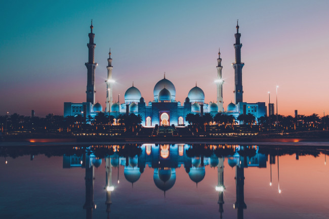 Abu Dhabi mosque at sunset