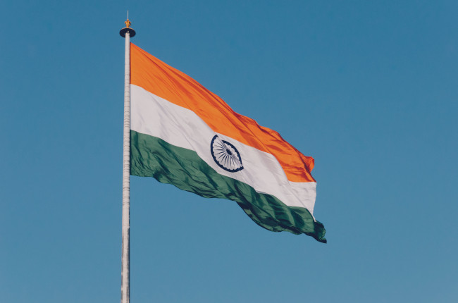 The Indian tricolour flag waving in the wind