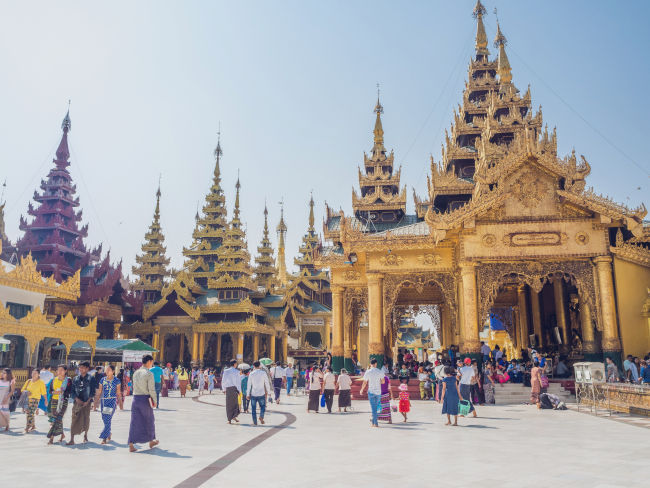 Yellow temple in Myanmar