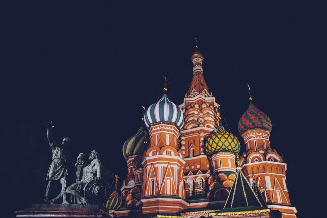 Night view of St Basil's cathedral in Moscow
